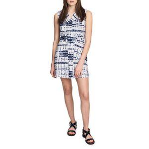 Santina Sleeveless Tie-Dye Shirtdress - Size: 14 - DENIM BLUE
