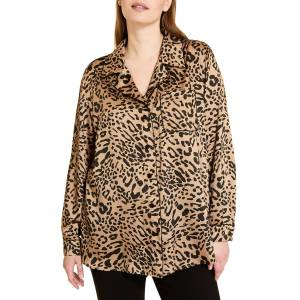 Marina Rinaldi Plus Size Bambola Animal-Print Twill Shirt - Size: 18 - CAMEL