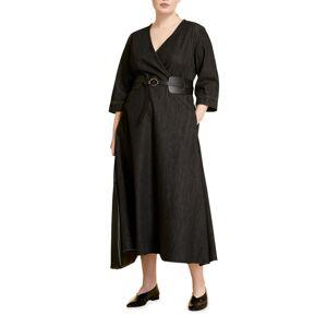 Marina Rinaldi Plus Size Damiere 3/4-Sleeve Denim Dress - Size: 18 - BLACK