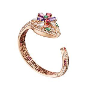 BVLGARI Serpenti Secret 18k Rose Gold Watch with Diamonds and Multicolor Stones