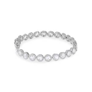 64 Facets 18k White Gold Scallop Diamond Tennis Bracelet