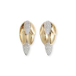 SUTRA 18K Yellow Gold Diamond Lotus Leaf Short Drop Earrings