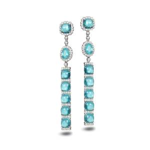 COOMI Trinity 18k White Gold Paraiba Long Earrings - WHITE