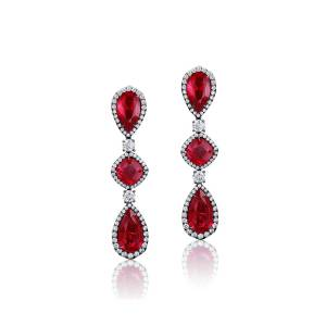 Bayco 18k Black Gold Mozambique Ruby and Diamond Earrings