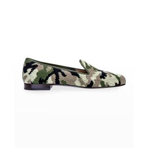 Stubbs and Wootton Camo Needlepoint Slippers - Size: 9B - GREEN