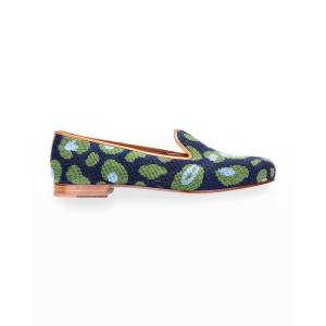 Stubbs and Wootton Felix Leopard-Print Needlepoint Smoking Loafers - Size: 10.5B - NAVY GREEN