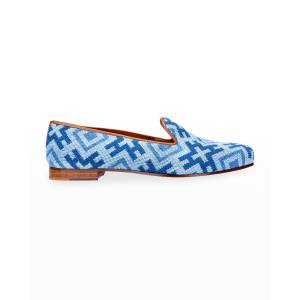 Stubbs and Wootton Harlow Needlepoint Smoking Loafers - Size: 7.5B - BLUE