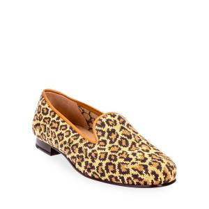 Stubbs and Wootton Jane True Needlepoint Cheetah Slippers - Size: 10B - NATURAL