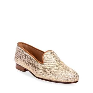 Stubbs and Wootton Metallic Woven Smoking Slipper Loafers - Size: 6B - GOLD