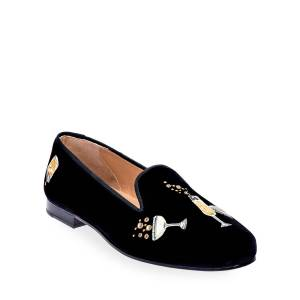 Stubbs and Wootton Celebrate Embroidered Velvet Smoking Loafers - Size: 7B - BLACK