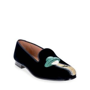Stubbs and Wootton UFO-Embroidered Velvet Loafers - Size: 9B - BLACK