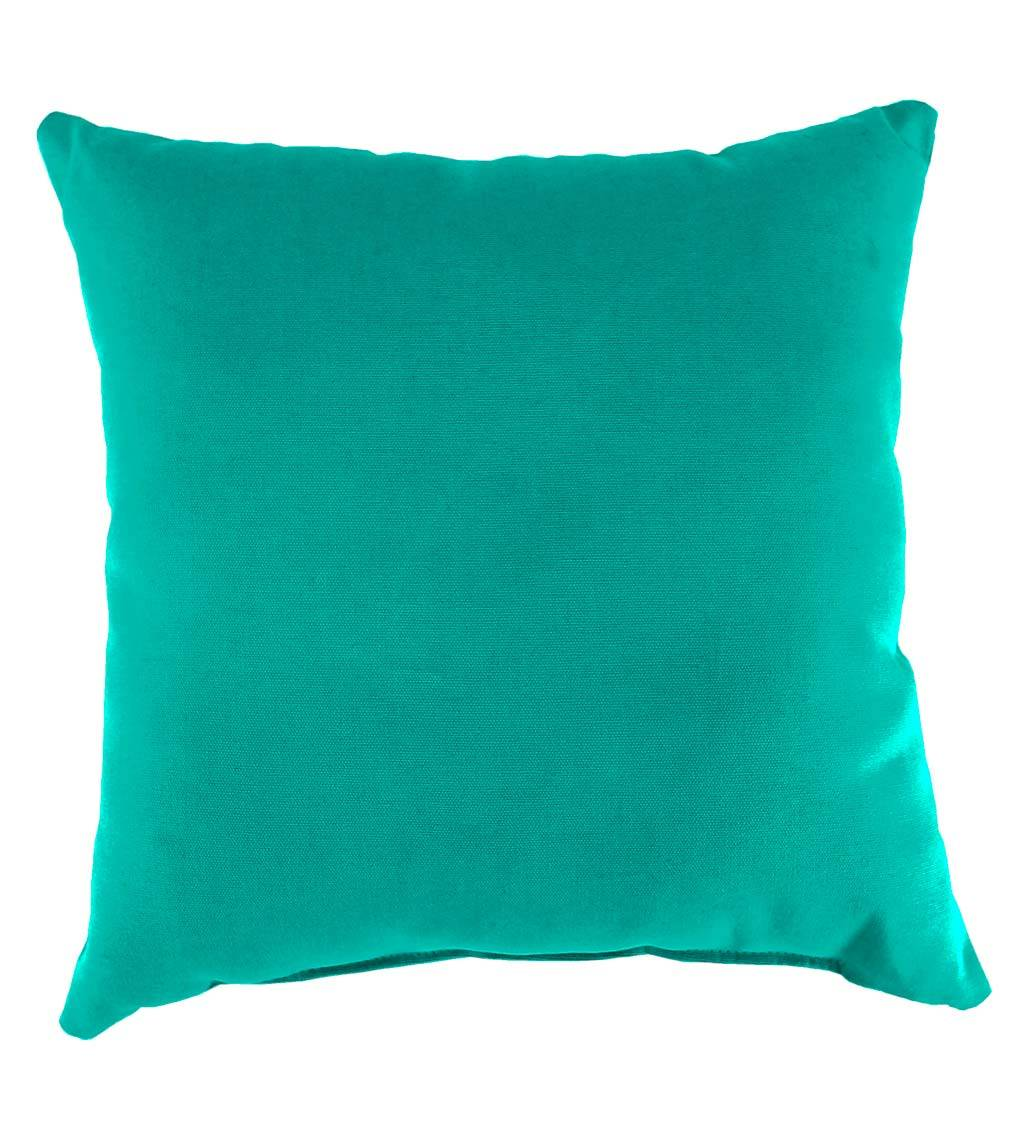 "JORDAN MANUFACTURING CO INC Weather-Resistant 22"" Square Outdoor Throw Pillow, in Aqua"