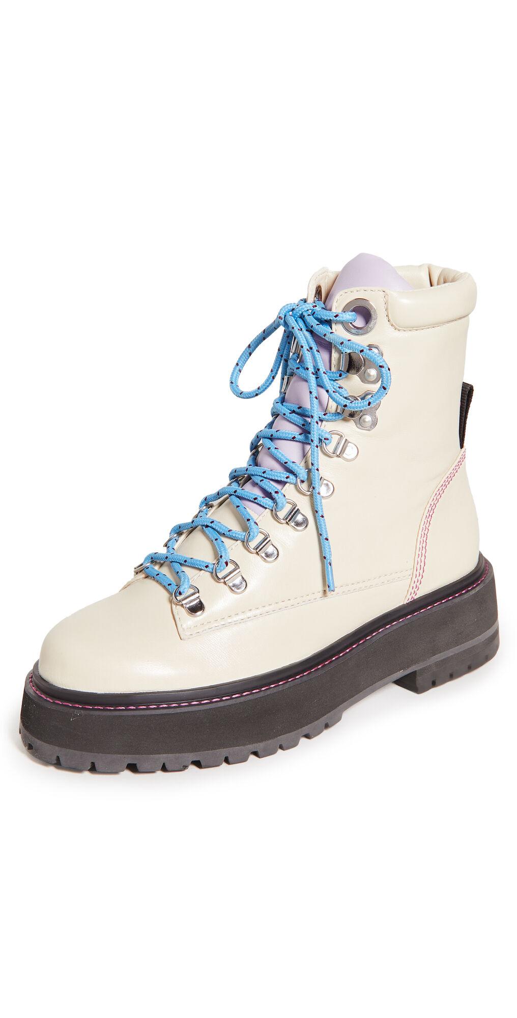 Larroude Jordan Low Boots  - Ivory/Violet - Size: 7