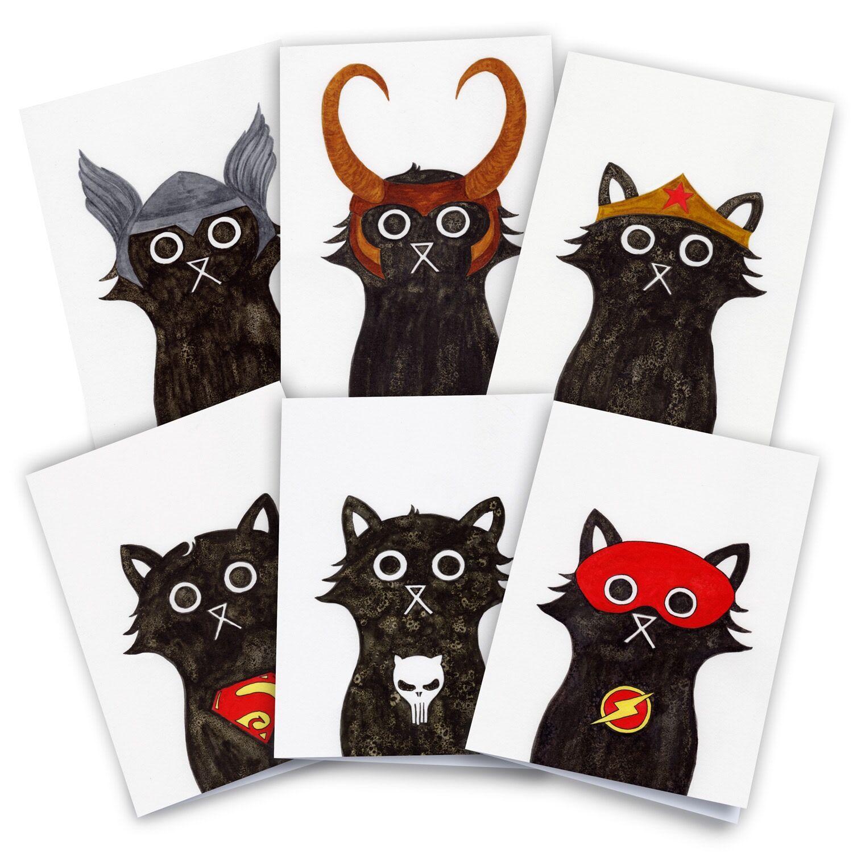 Baldy And The Fidget Artisanal Superhero Cat Cards Pack of 6 Baldy And The Fidget