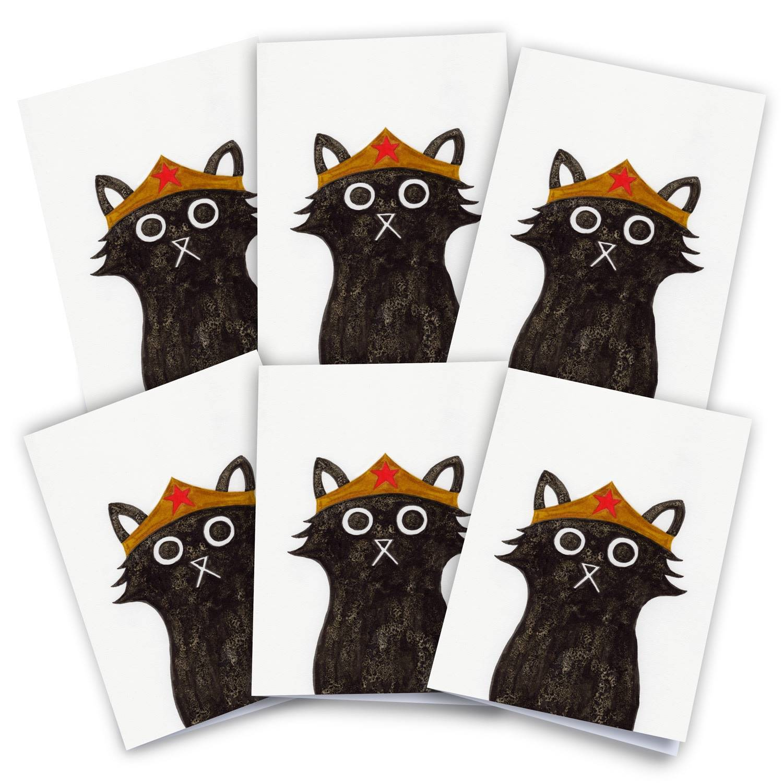 Baldy And The Fidget Artisanal Wonder Cat Cards Pack of 6 Baldy And The Fidget