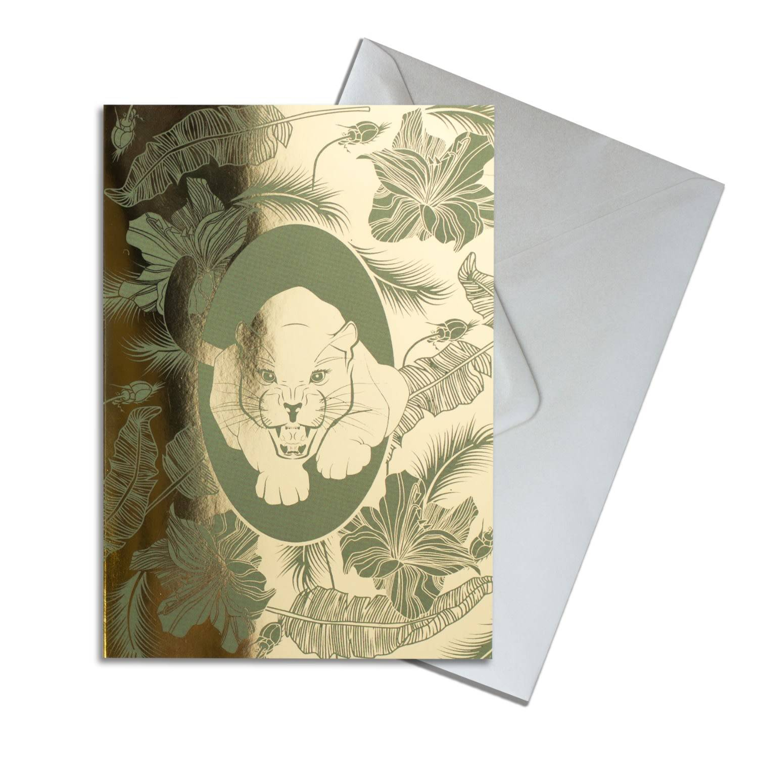 The Curious Department Artisanal Gold Elemental Panther Greeting Card Pack Of 10 The Curious Department