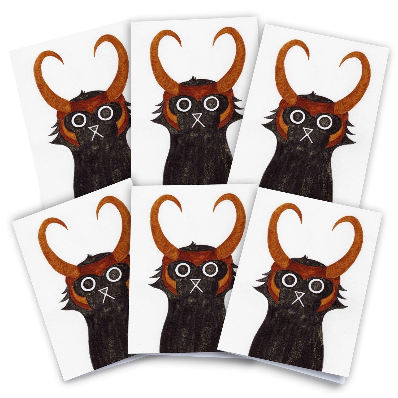 Baldy And The Fidget Artisanal Loki Cat Cards Pack of 6 Baldy And The Fidget