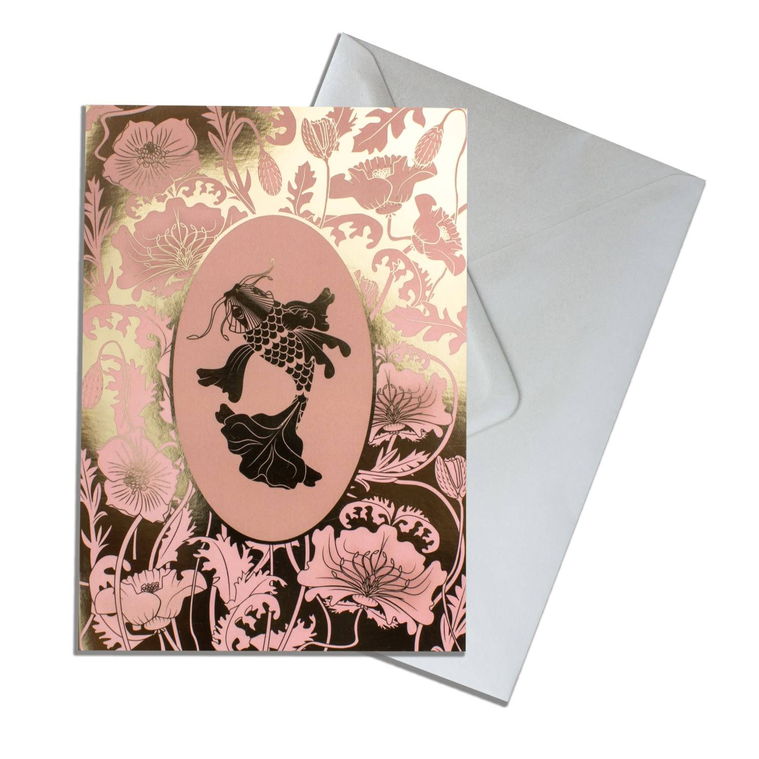 The Curious Department Artisanal Gold Elemental Koi Greeting Cards Pack Of 10 The Curious Department