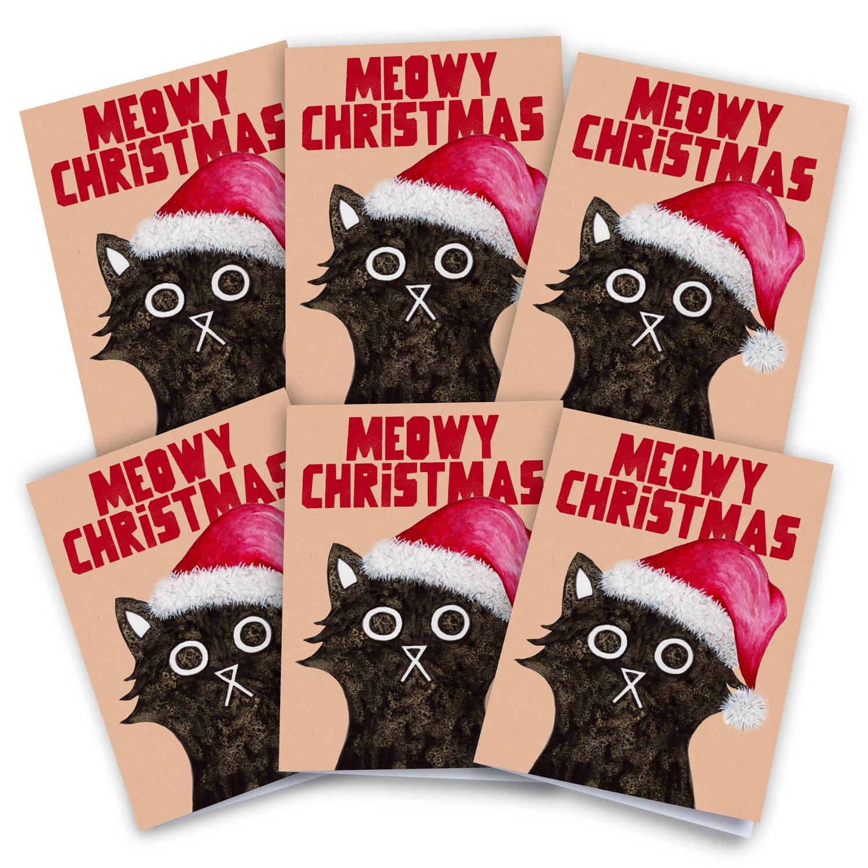 Baldy And The Fidget Artisanal Meowy Christmas Card Pack of 6 Baldy And The Fidget