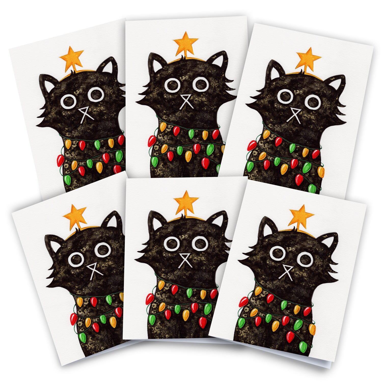 Baldy And The Fidget Artisanal Illuminating Cat Christmas Card Pack of 6 Baldy And The Fidget