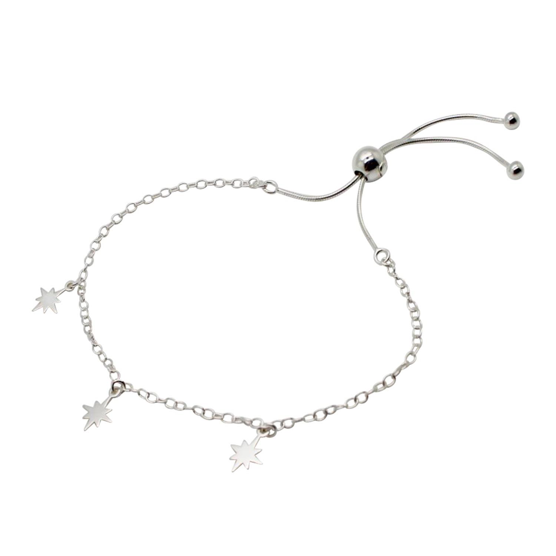 Lucy Ashton Jewellery Women's Artisanal Sterling Silver Small Stars Adjustable Bracelet Lucy Ashton Jewellery
