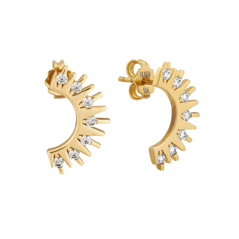 Runda Jewelry Women's Artisanal Gold Runda 10K Sun Hare Diamond Earrings, Dainty Diamond Sun Earrings Runda Jewelry