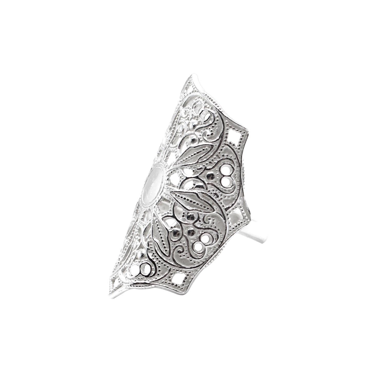 Lucy Ashton Jewellery Women's Artisanal Silver Adjustable Mandala Ring Lucy Ashton Jewellery