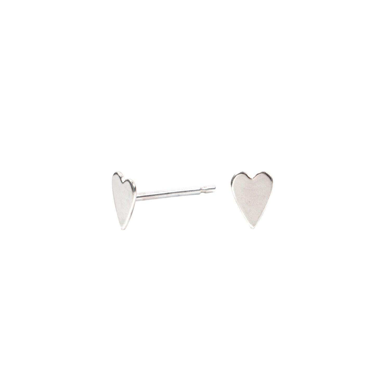 Lucy Ashton Jewellery Women's Artisanal Sterling Silver Tiny Heart Stud Earrings Lucy Ashton Jewellery