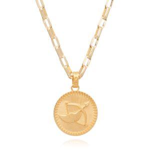 Jackson Women's Gold Statement Zodiac Art Coin Sagittarius Necklace Rachel Jackson