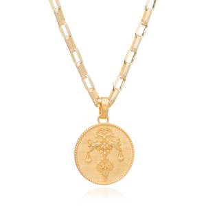 Jackson Women's Gold Statement Zodiac Art Coin Libra Necklace Rachel Jackson