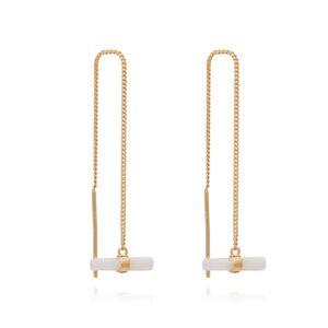 Jackson Women's Pearl Mini Mother Of T-Bar Gold Threader Earrings Rachel Jackson