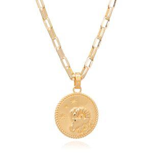 Jackson Women's Gold Statement Zodiac Art Coin Aries Necklace Rachel Jackson