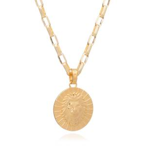 Jackson Women's Gold Statement Zodiac Art Coin Leo Necklace Rachel Jackson
