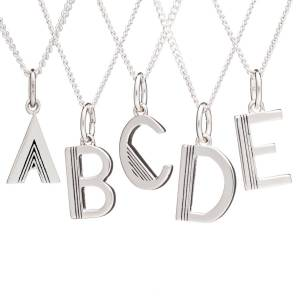 Jackson Women's Silver Art Deco Initial Necklace Rachel Jackson