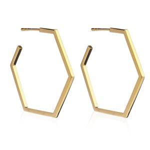 Jackson Women's Gold Large Hexagon Hoop Earrings Rachel Jackson