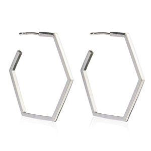 Jackson Women's Silver Large Hexagon Hoop Earrings Rachel Jackson