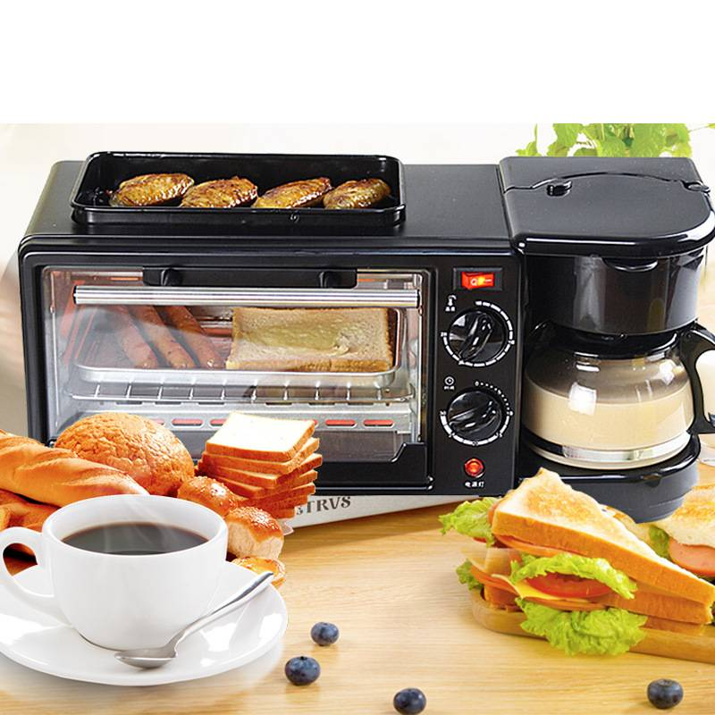 HAPPYSHOP multi-function electric oven kitchen appliances coffee machine pancakes home three-in-one