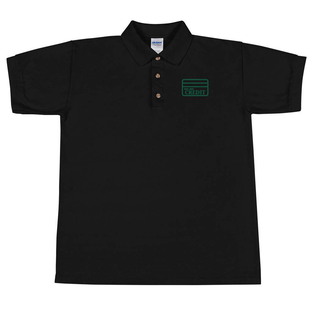 Credit El Fanoos Credit Card (Front Top Right Logo) (Ring-Spun Cotton) (Embroidered Polo Shirt) Sport Grey / XL