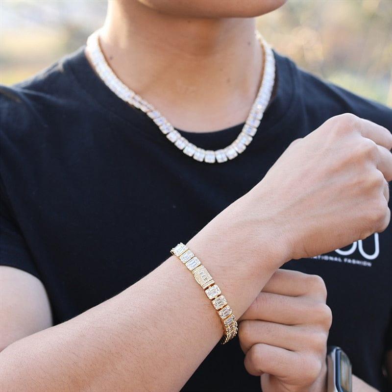 VVSJewelry VVS Jewelry 9MM Baguette Tennis Chain + FREE bracelet
