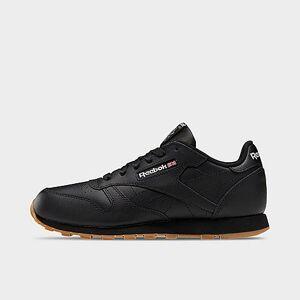 Reebok Big Kids' Reebok Classic Leather Casual Shoes - Black/Gum - Size: 6.5