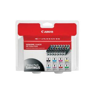 Canon CLI-8 Inkjet Cartridges, Black, Tri-Color, 8 Pack