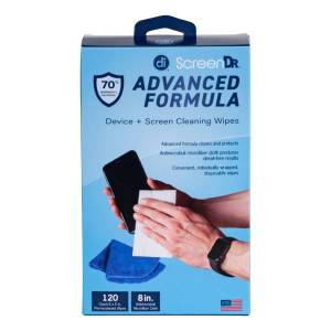Digital Innovations ScreenDr 70% Alcohol Advanced Formula Device Cleaning Wipes And Microfiber Cloth, Box Of 120 Packets
