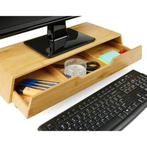 Mind Reader Bamboo Monitor Stand With 3-Compartment Drawer, Brown