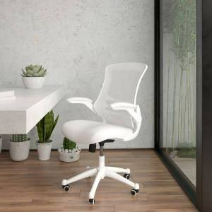 Flash Furniture Mesh Mid-Back Swivel Task Chair With Flip-Up Arms, White