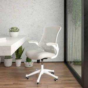 Flash Furniture Mesh Mid-Back Swivel Task Chair With Flip-Up Arms, Light Gray/White