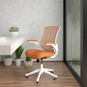 Flash Furniture Mesh Mid-Back Swivel Task Chair With Flip-Up Arms, Tan/White
