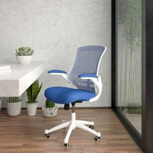 Flash Furniture Mesh Mid-Back Swivel Task Chair With Flip-Up Arms, Blue/White