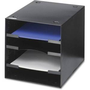 "Safco� Steel Desktop Sorter, 4 Compartments, 10""H x 10""W x 12""D, Black"