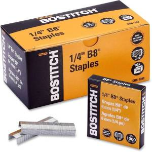 "Bostitch PowerCrown Premium Staples - 210 Per Strip - 1/4"" Leg - 1/2"" Crown - Chisel Point - Silver - High Carbon Steel - 2.5"" Height x 0.5"" Width0.3"""