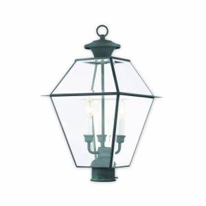Livex Lighting Westover 21 Inch Tall 3 Light Outdoor Post Lamp Westover - 2384-61 - Traditional